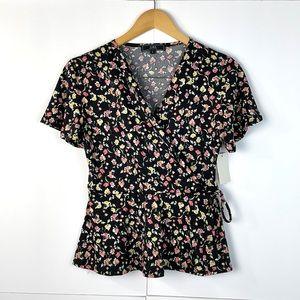 NWT VIBE Women Short Sleeve Peplum Blouse size L